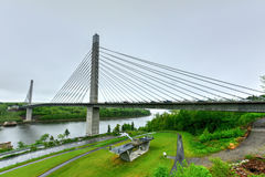 Penobscot Narrows Bridge - Maine. The Penobscot Narrows Bridge is a 2,120 feet (646 m) long cable-stayed bridge over the Penobscot River in Maine Stock Image