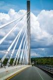 The Penobscot Narrows Bridge over the Penobscot River in Maine stock image