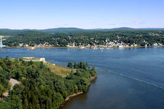 Penobscot River at Fort Knox and Bucksport Maine. The scenic Penobscot River between historic Fort Knox and the quaint town of Bucksport in Maine Stock Photo