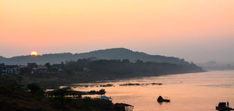 Penombra del fiume di Khong in Chaingkhan Immagini Stock Libere da Diritti