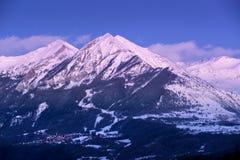 Penombra sul Autane minuta e grande, Champsaur, alpi, Francia Fotografie Stock