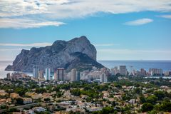 Penon de Ifach with the city of Calp from North stock image