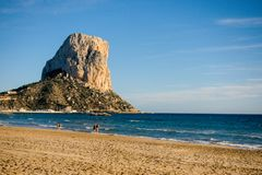 The Penon de Ifach rock, a symbol of the Costa Blanca in Calpe, Spain.  Royalty Free Stock Photography