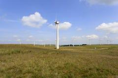 Penrhyddlan und LLidiartywaun Windfarm Stockfotografie