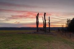 从Penrith视图的日落向蓝山山脉 库存照片