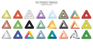 Penrose impossible triangle collection. On white/transparent background Royalty Free Stock Images