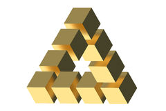 The Penrose triangle optical illusion Stock Photography