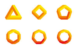 Penrose triangle and polygons colored Stock Photography