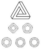 Penrose triangle and polygons outline Royalty Free Stock Images