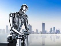 Pensée de robot d'AI illustration libre de droits