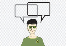 Pensée et peuples de personnes parlant avec la bulle de la parole Photo stock