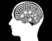 Pensée lumineuse d'idée de puissance d'esprit éclairée par cerveau Image libre de droits