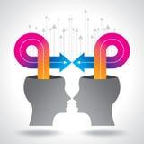Pensées et options Illustration de vecteur de tête avec des flèches Photo stock