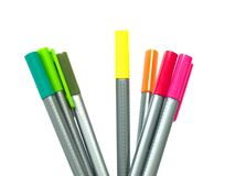 Pens 01. Seven standing pens in different colors Stock Photo