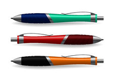 Pens. The realistic picture of three colour pens stock illustration