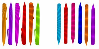 Pens. Unique groups of Colorful pens merged with sun rays Royalty Free Stock Images