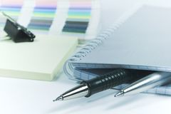 Pens and blank notebook. Two pens and blank notebook Royalty Free Stock Photography
