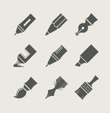 Pens and brushes for drawing. Set of simple icons Royalty Free Stock Photos
