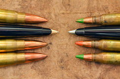 Pens and bullets Royalty Free Stock Photography
