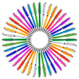 Pens in circle Stock Images
