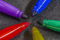 Pens. Colored pens and their colored points royalty free stock photography