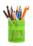 Pens in Cup Can. Pens and Pencils in a Cup Can Isolated on White Background stock images