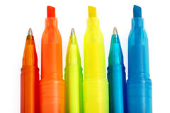 Pens & Highlighters Royalty Free Stock Photos