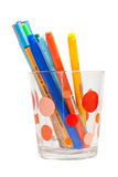 Pens of many colors. Together in a glass cylinder Stock Images