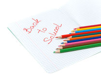 Pens in an open notebook Royalty Free Stock Images