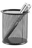Pens in a pen holder in form of a black trash can. Three pens in a pen holder in form of a black trash can Royalty Free Stock Images