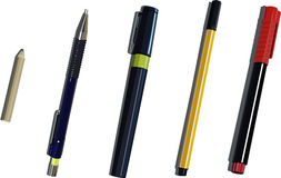 Pens and pencil Royalty Free Stock Image