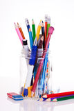 Pens and pencils royalty free stock photos