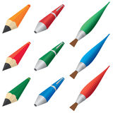 Pens and pencils. Royalty Free Stock Photo