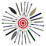 Pens and pencils aim to target.Writers journalists.news item . Royalty Free Stock Image