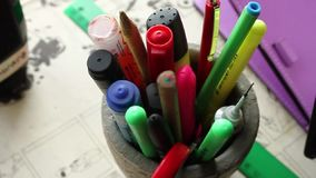Pens and pencils stock video