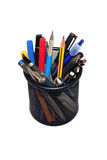 Pens and Pencils in black holder Royalty Free Stock Photo