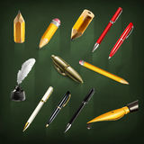 Pens and pencils icons. Set with pens and pencils, vector icons Stock Images