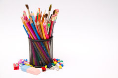 Pens, pencils, markers in holder Royalty Free Stock Images