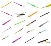 Pens and pencils on white background, brushes royalty free stock images