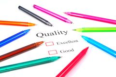 Pens on quality test Stock Image