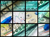 Pens, rulers, clock and keys Stock Photography