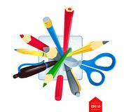 Pens and scissors in holder. Top view vector illustration of pencils, pens and scissors in holder isolated on white background Royalty Free Stock Photo