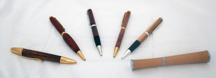 Pens. Selection of wood pens on a white back ground Stock Photos