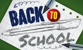 Pens with Sketch in Notebook Paper for Back to School, Vector Illustration. Banner with pens around a notebook paper drawing of one of them and doodles for Back Royalty Free Stock Photography