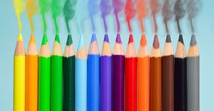 Pens, Smoke, Colorful, Yellow Royalty Free Stock Images