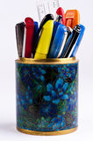 Pens in stand. A combination of different pens in a stand Royalty Free Stock Images