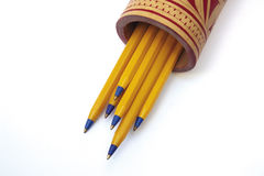 Pens. Yellow ballpoint in the cup Stock Photo