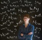 Hombre de negocios de pensamiento con preguntas de la tiza Fotografía de archivo libre de regalías
