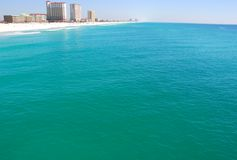 Pensacola beach. Beautiful aerial view of the gulf coast with Pensacola Beach in the distance royalty free stock photography