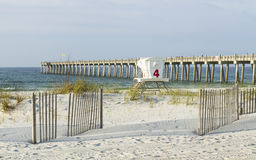 Pensacola Beach Dunes and Fishing Pier Stock Photography